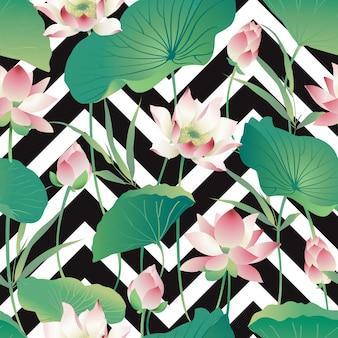 Acquerello dei fiori e delle foglie di loto del modello di vettore senza cuciture