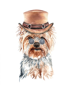 Acquerello del cane yorkshire terrier con costume.