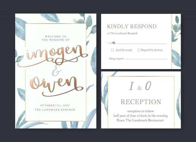 Acquerello del fiore della carta di nozze, carta di ringraziamenti, illustrazione di matrimonio dell'invito