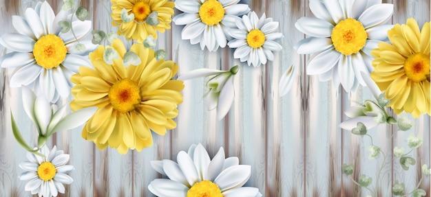 Acquerello del mazzo dei fiori dei tulipani e della margherita