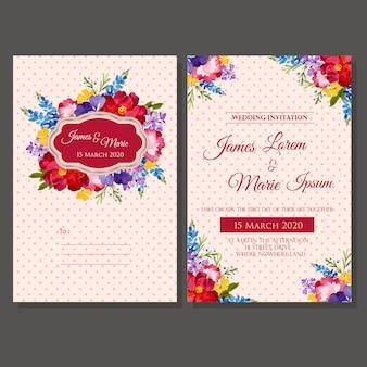 Acquerello del modello dell'invito di nozze floreale