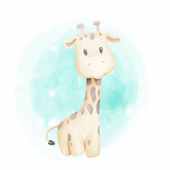 Acquerello del ritratto sveglio della giraffa del bambino
