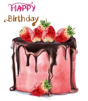 Acquerello delizioso della torta della fragola di buon compleanno