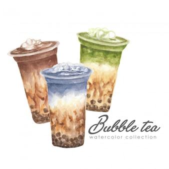 Acquerello dell'illustrazione del manifesto dell'insieme di tè della bolla