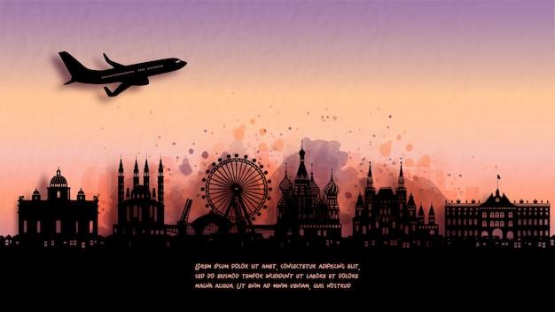 Acquerello dell'orizzonte della siluetta della russia e punto di riferimento famoso. illustrazione.