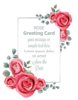 Acquerello della carta di nozze dei fiori della rosa
