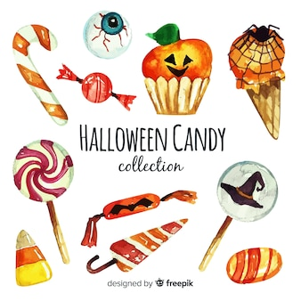 Acquerello della collezione di caramelle colorate di halloween