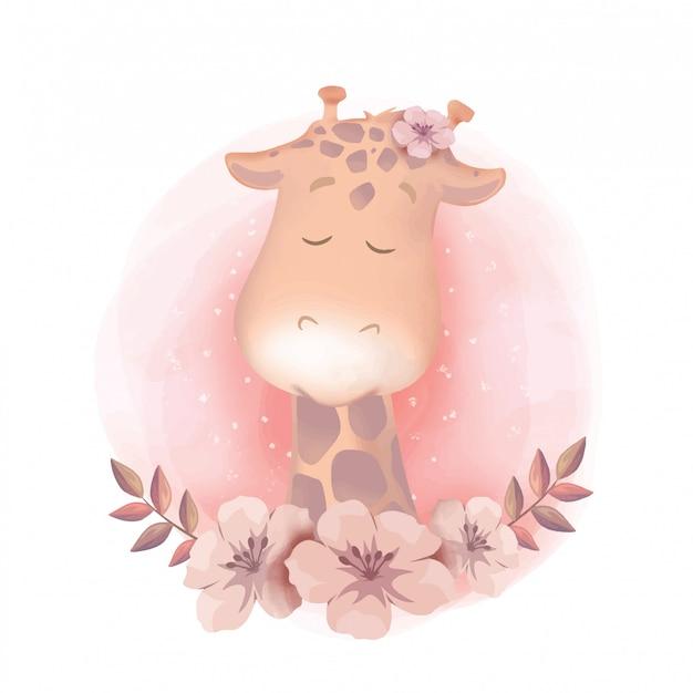 Acquerello della giraffa del ritratto dell'acquazzone del bambino