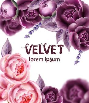 Acquerello della partecipazione di nozze dei fiori di rosa