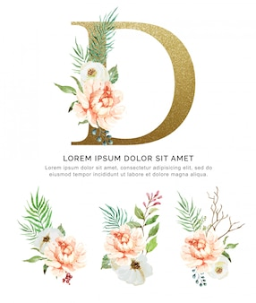 Acquerello della raccolta del fiore e delle foglie del mazzo di alfabeto d.