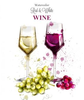 Acquerello di bicchieri di vino
