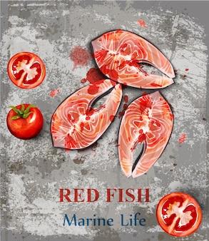 Acquerello di bistecche di pesce salmone