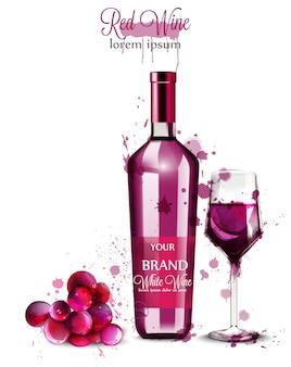 Acquerello di bottiglia di vino rosso
