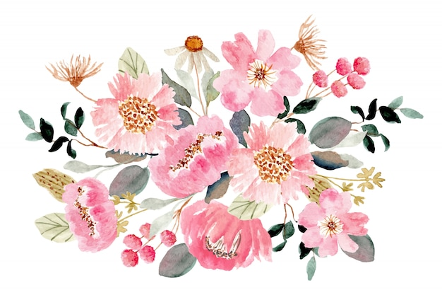 Acquerello di bouquet floreale verde rosa