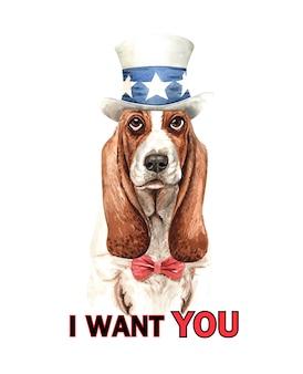 Acquerello di cane basset hound con costume.