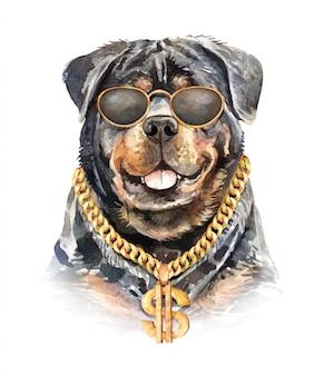 Acquerello di cane rottweiler con collana a catena.