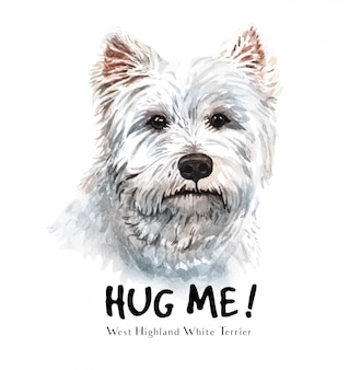 Acquerello di cane white terrier per la stampa.