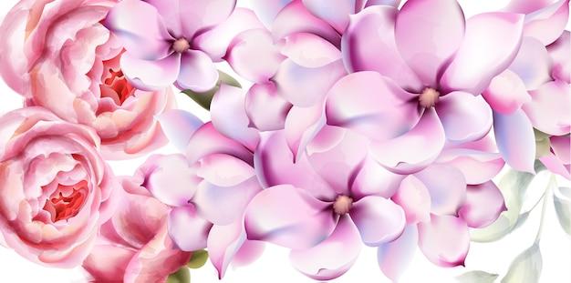 Acquerello di carta fiori rosa e lilly