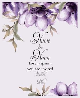 Acquerello di carta fiori viola