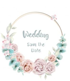 Acquerello di carta rotonda fiore rosa. invito a nozze vintage stile retrò o saluti