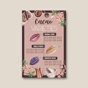 Acquerello di cioccolato con alberi di ramo di cacao, infografica