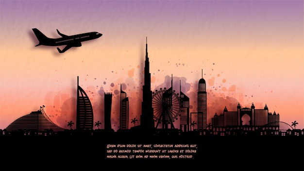 Acquerello di dubai silhouette skyline e famoso punto di riferimento. illustrazione.