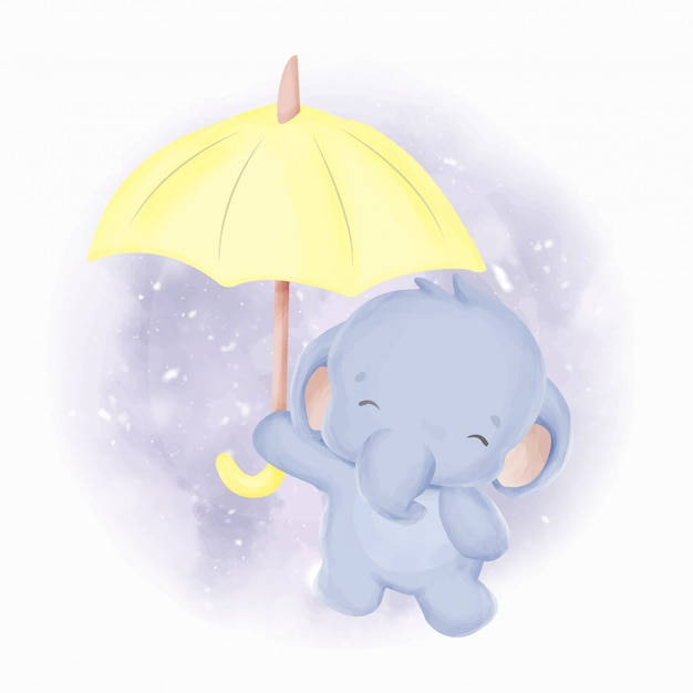 Acquerello di elefantino e ombrello