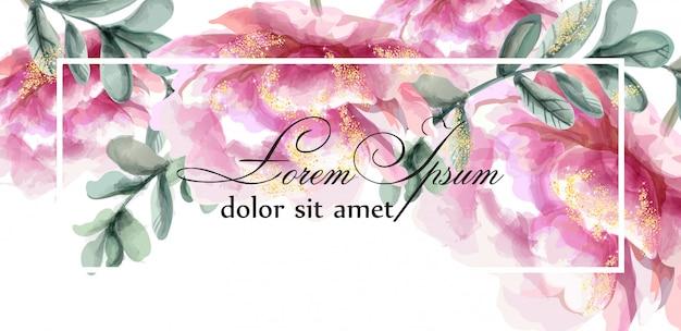 Acquerello di fiori di peonia colorato