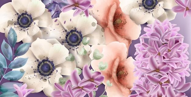 Acquerello di fiori di primavera