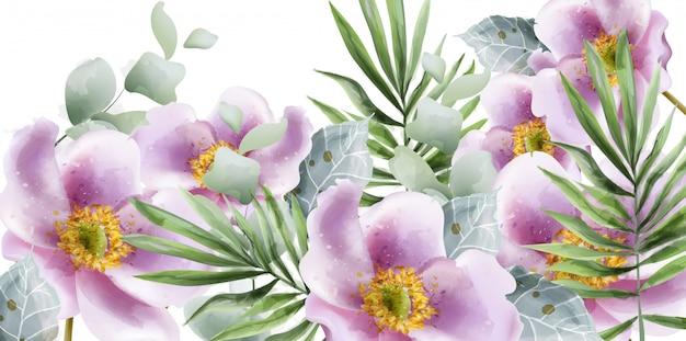 Acquerello di fiori estivi