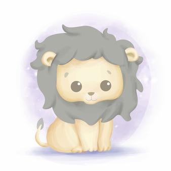Acquerello di leone bambino bambino sorriso carino