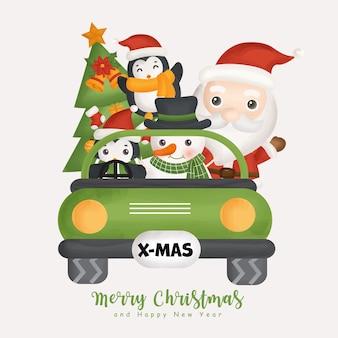 Acquerello di natale con simpatico pinguino di babbo natale natalizio ed elementi natalizi per biglietti di auguri, inviti, carta, imballaggi.