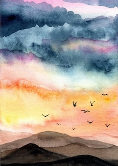 Acquerello di paesaggio con sfondo bellissimo cielo