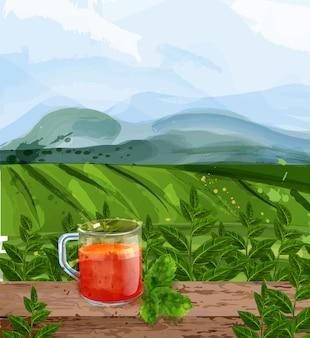 Acquerello di paesaggio del tè