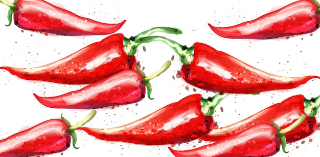 Acquerello di peperoncino rosso