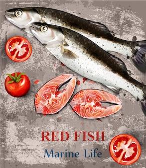 Acquerello di pesce di color salmone