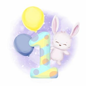 Acquerello di primo compleanno di coniglietti