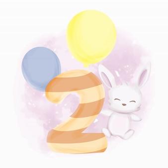 Acquerello di secondo compleanno di coniglietti