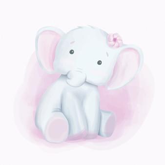 Acquerello di sguardo curioso dell'elefante di bambino
