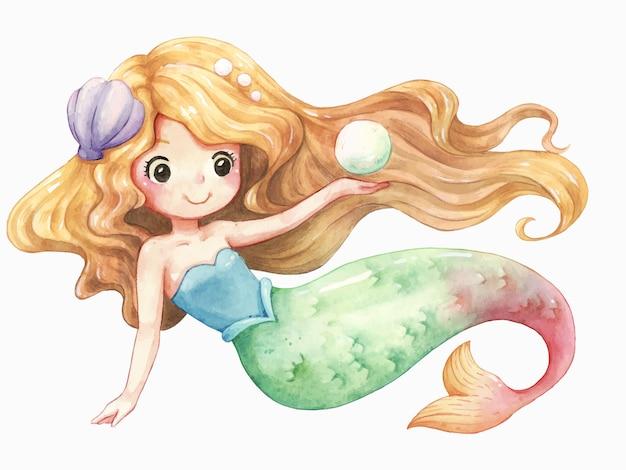 Acquerello di sirena personaggio dei cartoni animati