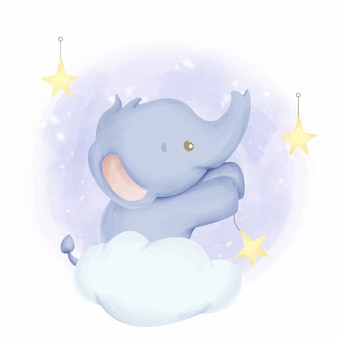 Acquerello di stelle appese elefantino