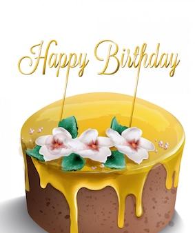 Acquerello di torta di buon compleanno