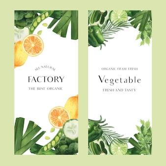 Acquerello di verdure verdi azienda agricola biologica fresca per il menu di cibo