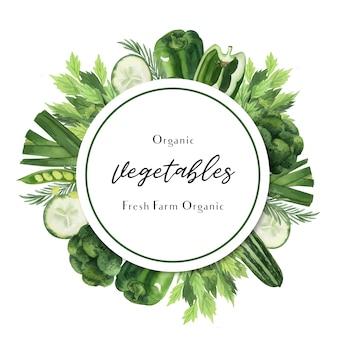 Acquerello di verdure verdi poster fattoria biologica di menu idea, design organico sano