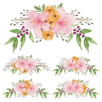 Acquerello dipinto a mano del set di bouquet di fiori di ibisco