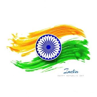 Acquerello disegno bandiera indiana