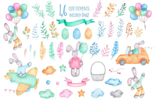 Acquerello felice pasqua raccolta coniglietto con mongolfiere