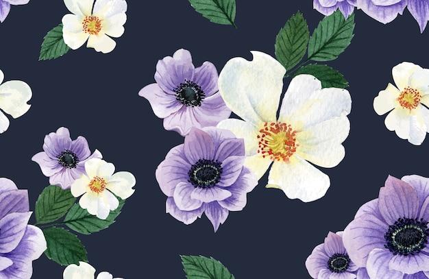 Acquerello fiore modello botanico, carta grazie, illustrazione di stampa tessile
