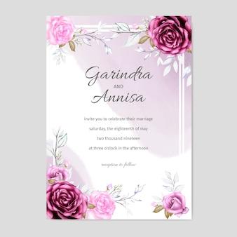 Acquerello floreale dell'invito di cerimonia nuziale