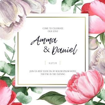 Acquerello floreale delle carte di nozze dell'acquerello botanico del fiore di fioritura della peonia rosa
